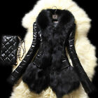 Luxury Women's Coat Leather Overcoat Faux Fur Long Sleeve Jacket Snowsuit L36