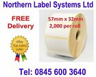 57mm x 32mm White Labels for Zebra, Citizen, Toshiba etc WITH FACE PERFORATION