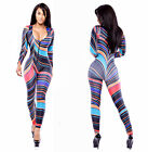 NEW girl Colorful Womens Zipper Graffiti Stretch Bodycon Rompers Jumpsuits
