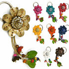 """Handmade"" Leather Flower Keychain Key Ring Bag Charm Zinnia Floral eib2"