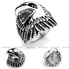 Punk Rock Mens Stainless Steel 3D Vivid Eagle Head Biker Finger Ring Xmas Gift