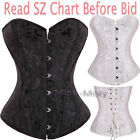 Sexy Corset Lace up Boned bustier free g-string SZ S-6XL Black plus Burlesque H3