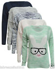 Womens/Girls Sexy Geek Bunny Rabbit Glasses Knitted Heart Jumper Sweater Top