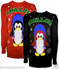 Womens Christmas Penguin 3d Chiilin Knitted Long sleeve Xmas Jumper Sweater