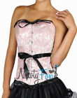 Elegant Pink Brocade Black Ribbon Lace-Up Overbust Corset Bustier S-2X