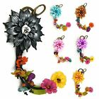 """Handmade"" Leather Flower Key Ring Keychain Bag Charm Lotus Floral fca2"