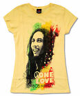 BOB MARLEY STARS YELLOW BABY DOLL T-SHIRT NEW OFFICIAL JUNIORS ONE LOVE RASTA