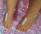 BABY  Barefoot Sandals WHITE PRINCESS Beach bridal Christening Naming Day GIRLS