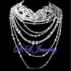2 in 1 Crystal Rhinestones Bohemian Queen Style Tiara & Necklace Bridal Set
