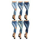 Bonage Fashion Designer Women's Distressed Boyfriend Denim Blue Jeans