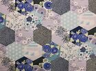 Hexagon Patchwork Design Print Craft Fabric - BLUE 100% Cotton  FQ - Metres