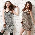 Women's Wood Bead Straps Sexy Leopard Beach Bohemia Sun Dress E208