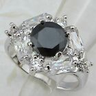 Size 6 7 8 9 Gorgeous Black & White CZ Jewelry Gold Filled Woman Gift Ring K746
