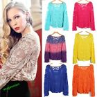New Semi Sheer Women Sleeve T-Shirt Embroidery Floral Lace Crochet Top Blouse