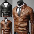 New Men's Slim Fit Zipper Designed PU Leather Jacket Coat Slim Top Designed