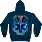 Navy Blue EMS EMT Star of Life and Eagle Service Before Self Hooded Sweatshirt