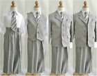 Silver/Light grey chambray bridal party ring bearer graduation boy formal suit