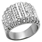 Women's Fashion Ring Round Cut CZ Stainless Steel Wide Band Non Tarnish Sz 5-10