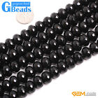 "Rondelle Faceted Black Agate Beads Onyx Jewelry Making 15"" In Selctable Sizes"