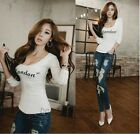 Fashion women Low Cut Blouses Cotton Blend Long Sleeve Solid Color T-shirt Tops