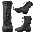 Womens Faux Leather Lace Up Zipper Close Mid Calf Combat Boots Black