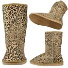 Womens Comfort Fur Lined Pull On Winter Mid Calf Leopard Print Boots Brown