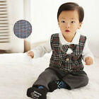 New Baby  Bowtied  layerded Onepiece Romper with Check Vest Formal suit #1260