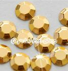 Light Gold (Any Size) hot fix Iron On Faceted rhinestuds Nice 6ss 10ss 16ss 20ss