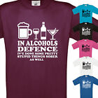 NEW MENS IN ALCOHOLS DEFENCE T SHIRT - FUNNY GIFT XMAS BIRTHDAY