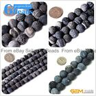 "Crackled Round Black Agate Frosted Loose Beads Gemstone Strands 15"" for Crafts"