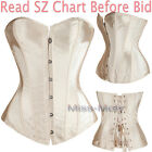 New Pure Gold Lace Up Overbust Burlesque Corset Bustier Lingerie Plus S-6X AU H2