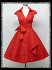 dress190 RED 40s/50s WRAP AROUND CAP SLEEVE ROCKABILLY VTG PARTY COCKTAIL DRESS