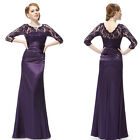 Ever Pretty Elegant 3/4 Sleeve Lace Women's Long Black Evening Dress 09882