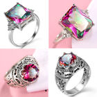 Woman Round Cut Silver Mystic Rainbow Topaz Gemstone CZ Ring Size 7 8 9