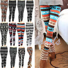 Winter Warm Xmas Stripe Snowflake&Reindeer Cotton Knitted Pants Trousers Legging