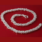 MENS CHUNKY HEAVYWEIGHT BYZANTINE SOLID STERLING 925 SILVER CHAIN NECKLACE