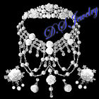 Elegant English Rose Clear Rhinestones Tiara Hair Clip Necklac&Earrings Clip-On