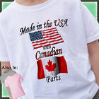 Made in the USA with Canadian Parts Shirt Country Nationality Flag Canada