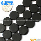 Natural Black Brazil Agate Onyx Gemstone Matte Flat Coin Beads Free Shipping 15""