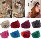 Lady Women Fashion Camellia Warm Soft Wool Crochet Headband Knit Wide Hair Band