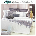 3 Pce Alfie Waves Embroidery Quilt Cover Set by Grand Aterlier - QUEEN KING