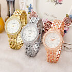 Golden Silver Women Ladies Roman Numeral Crystal Stainless Steel Wrist Watch FI