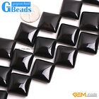 "Square Black Agate Gemstone Onyx Loose Beads Strands 15"" for Jewelery Making"