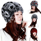 Women's 100% Real Genuine Rex Rabbit Fur Knitted Fur Rose Flowers Beanie Hat