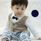 New Baby Checked Pants Bowtie Romper #7011