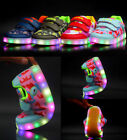 Cool Boys Girls Colorful LED Light up Camo Velcro Sneakers Kids Dance Shoes