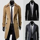 Mens Double Breasted Peacoat Slim Fit Casual Long Trench Coats Jackets Overcoats