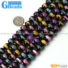 "Round Faceted Strip Fire Agate Gemstone Loose Beads 15"" 10mm for Jewelry Making"