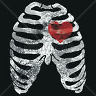 BRAND New SKELETON WITH HEART Black T-Shirts Small to 5XL