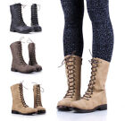 Two Tone Lace Up Combat Military Boots Faux Leather Womens Mid-Calf Boots Shoes
